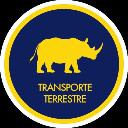 icono de transporte terrestre, consiste de un rinoceronte dentro de un circulo. El titulo esta en el lado inferior