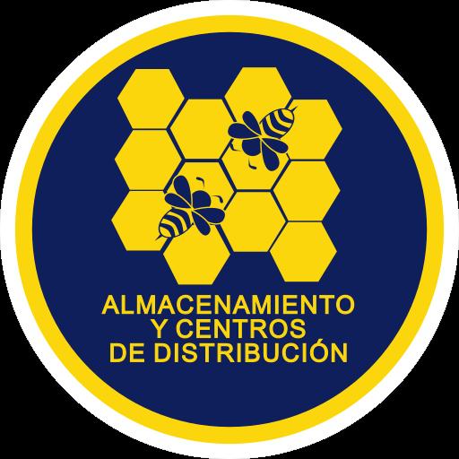 Icono de almacenamiento, consiste de una colmena de abejas dentro de un circulo con el titulo en el lado inferior