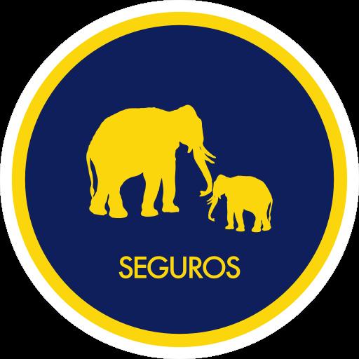 Icono de Seguros, contiene un elefante con su bebe mirandose dentro de un circulo. El titulo de seguros esta en el lado inferior.