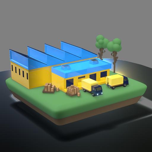 Fabrica y bodega con comiones cargando y descargando estibas de paletas, estilo 3D