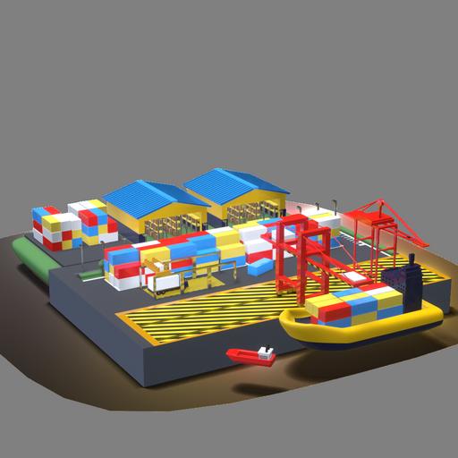 Un muelle de importaciones y exportaciones con contenedores y bodegas, estilo 3D