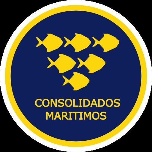 Un icono de Consolidados Maritimos. Tiene un piramide inversa de pescados dentro de un circulo con el texto al lado inverior.