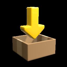 Una caja con una flecha amarilla apuntando hacia abajo, icono 3D. Un icono de descarga.