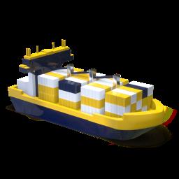 icono 3d, barco, amarillo, blanco y azul oscuro