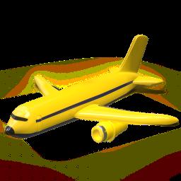 avion, amarillo, icono 3d
