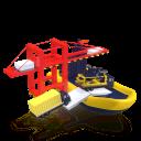 Un RORO subiendo un barco al lado de una grua de muelle, estilo 3D