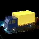 Camion, icono 3d, amarillo y azul