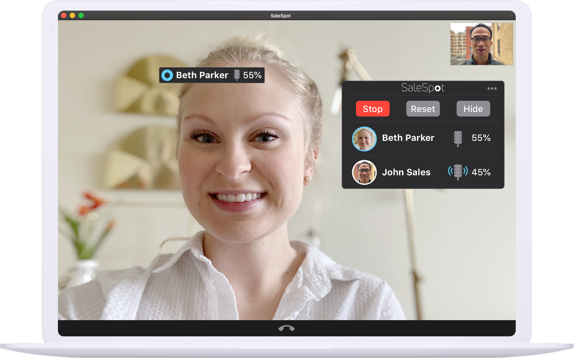 Demo of the SaleSpot interface providing sales call metrics during a sales video call.