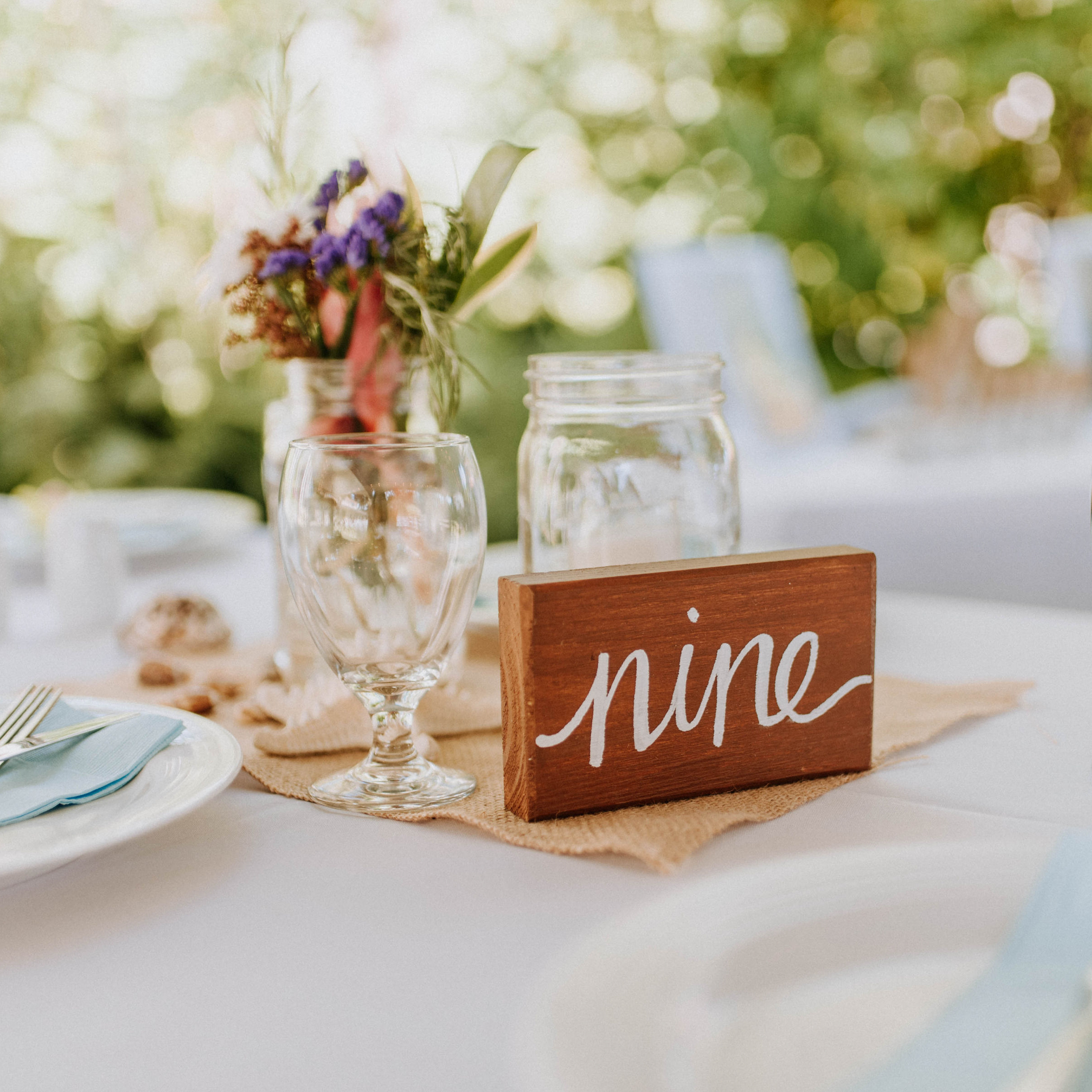 tropical Jamaican style wedding decor for tables at reception