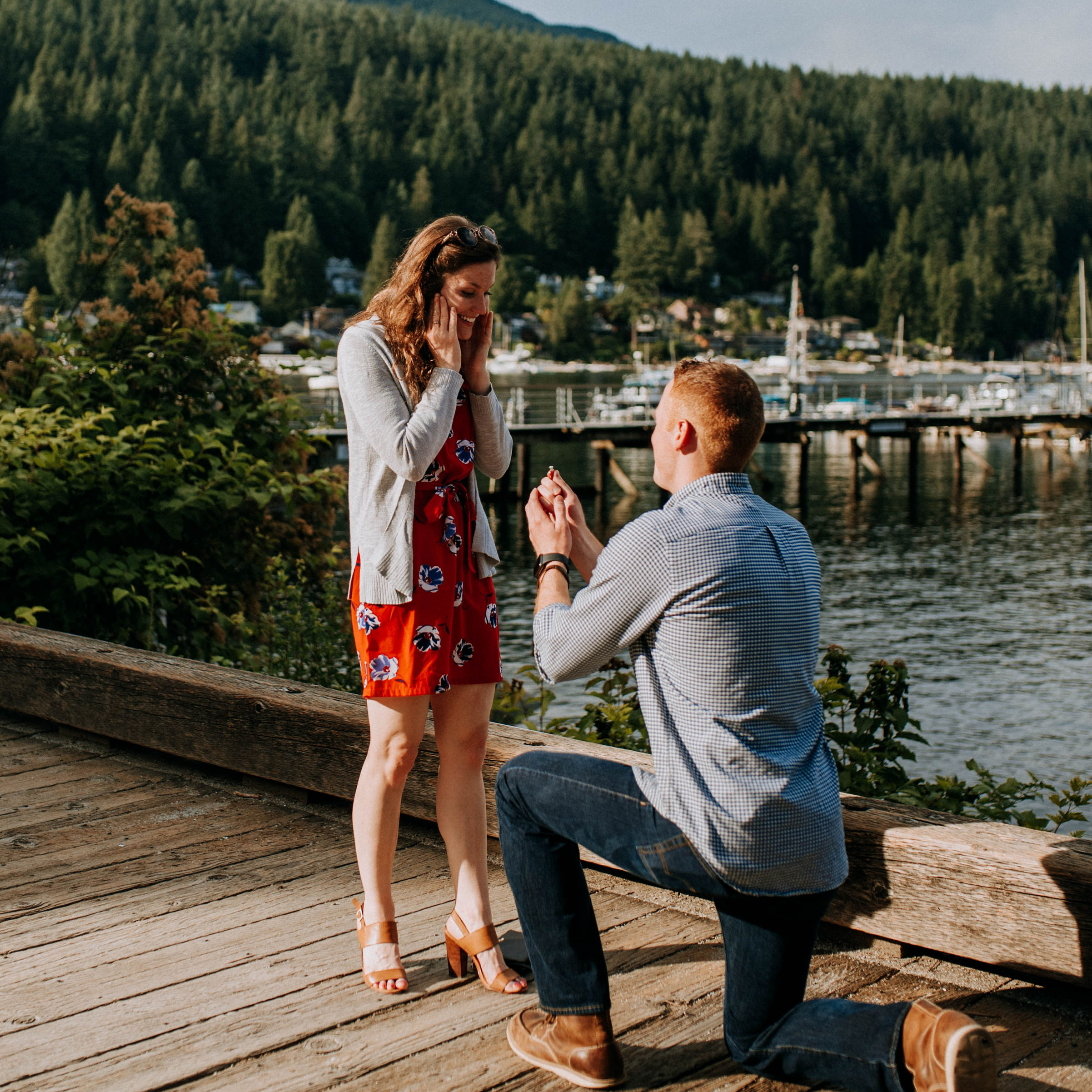 sweet couples wedding proposal in deep cove, BC in August