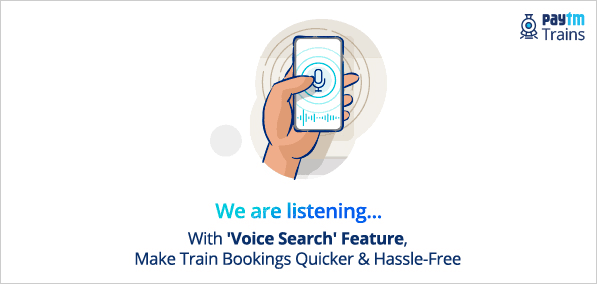 A poster by PayTM travel introducing the new Voice Search feature
