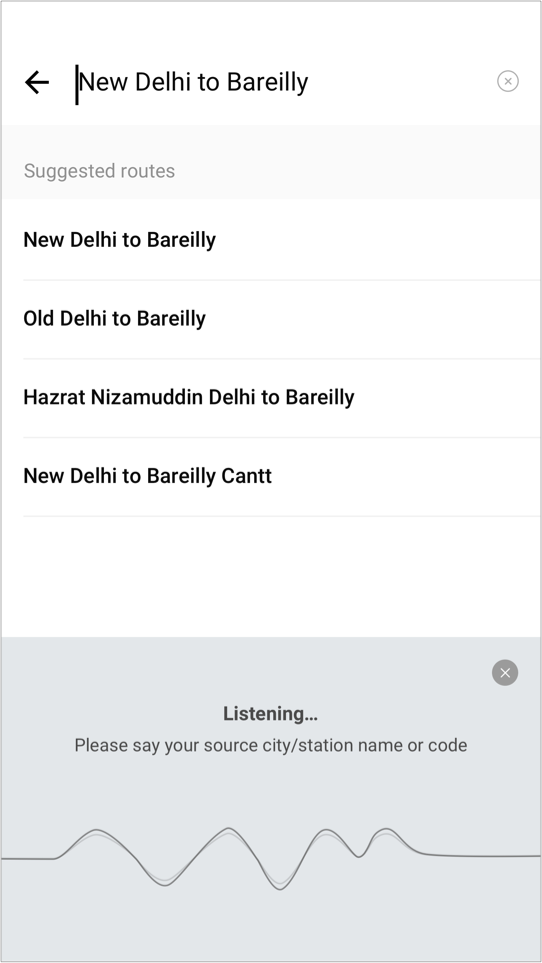 Search command for New Delhi to Bareilly
