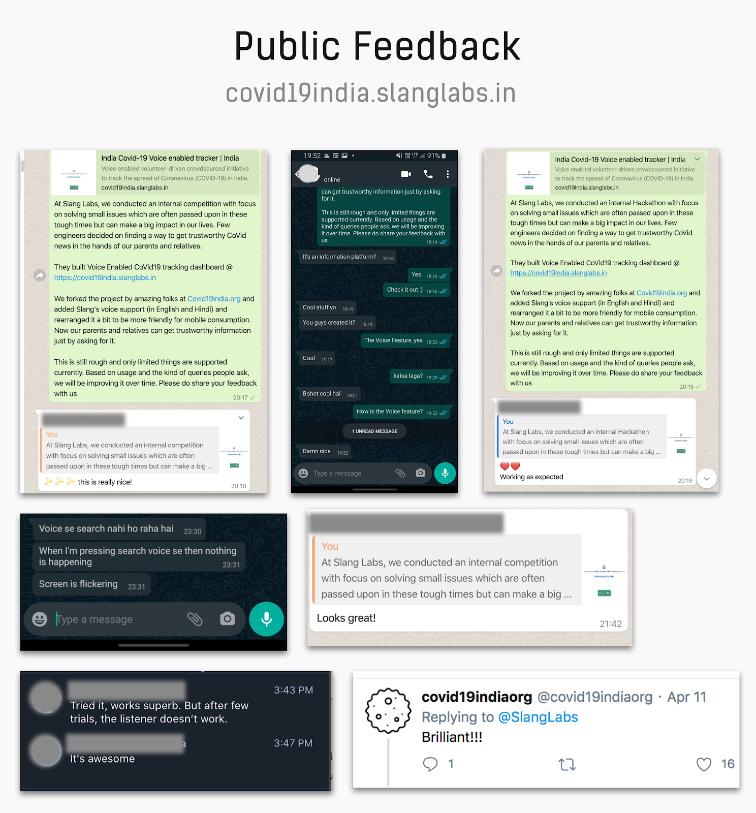 Public feedback on covid19india.slanglabs.in