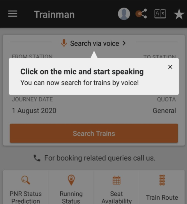 Coachmark- Asking users to click on the mic and start speaking