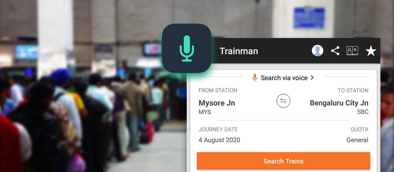 Trainman worked with Slang Labs to enable Voice Assistant in the app
