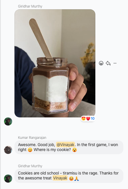 Winner of the game gets a treat!