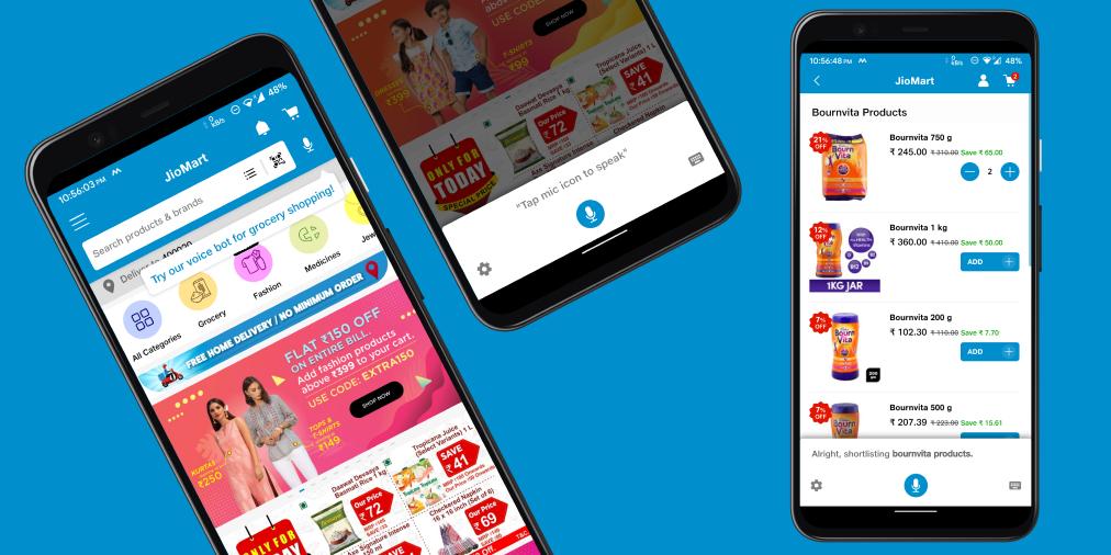 JioMart's Voice Assistant inside their retail shopping app