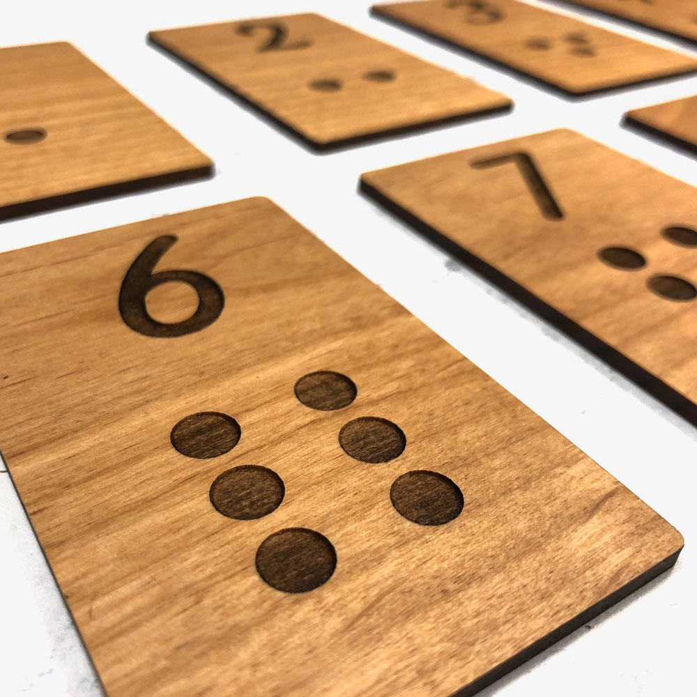 Alder Wood Laser Engraved Montessori Inspired Number Learning Counting Cards.