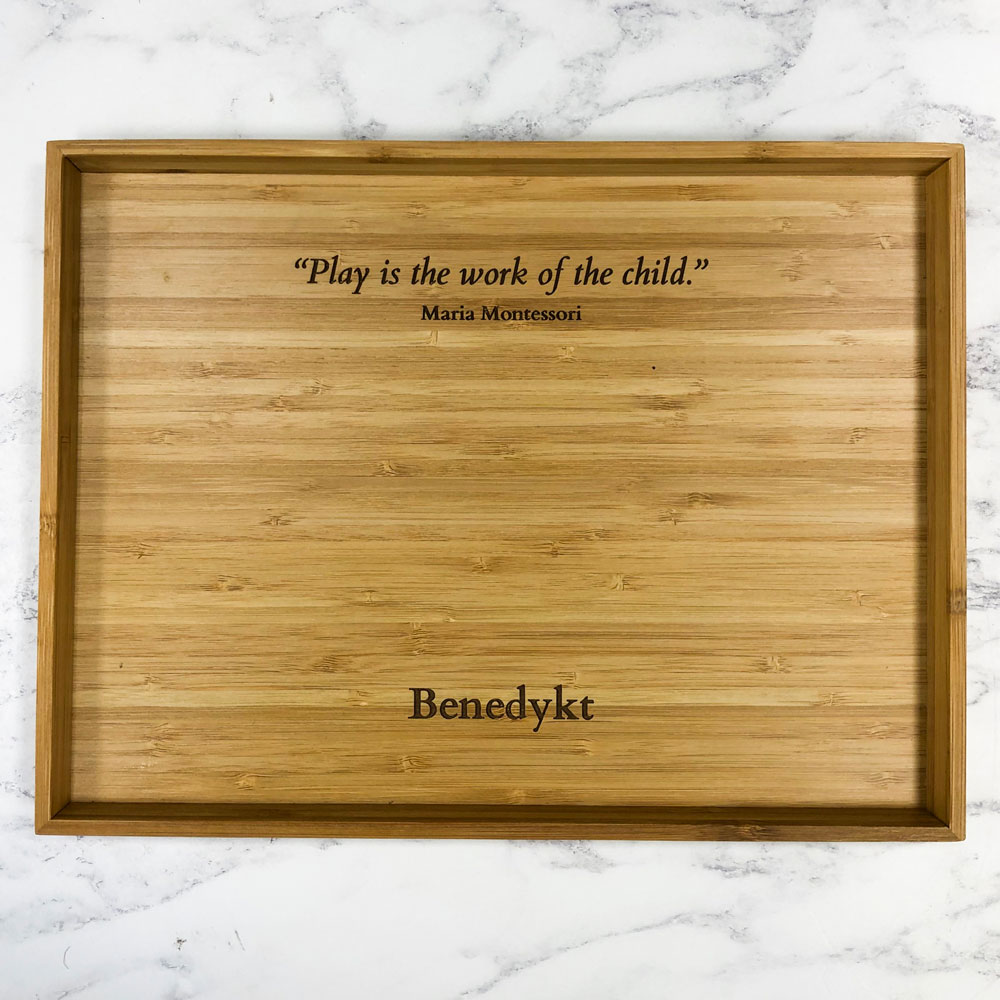 Personalised Bamboo Activity Play Tray with Maria Montessori Quote