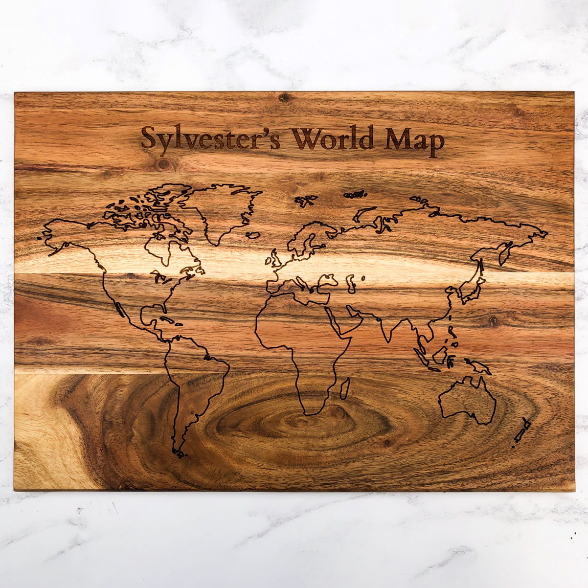 World Map Solid Acacia Decorative Board