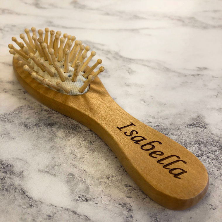 Personalised Wooden Hairbrush for Little Hands