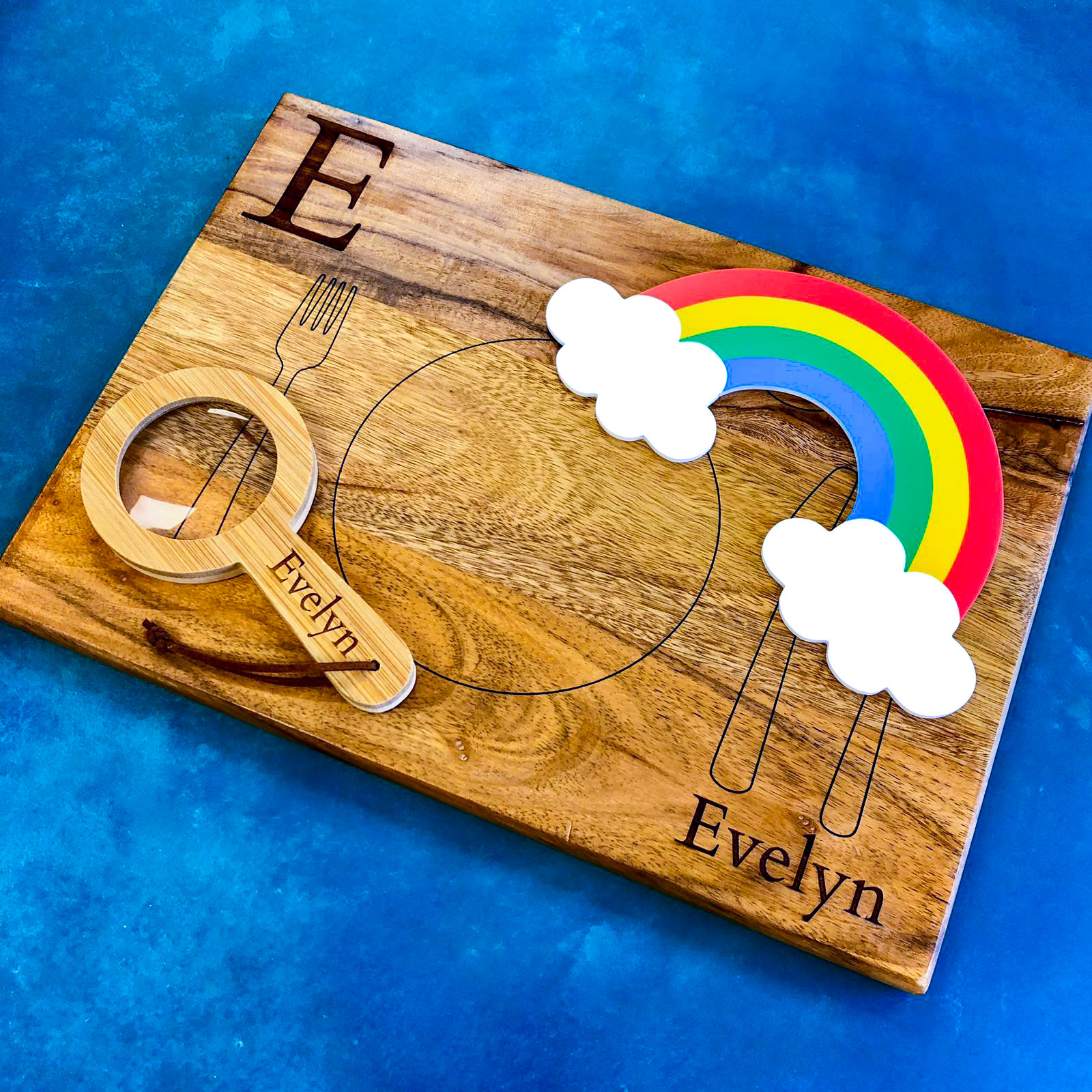 Benedykt and Sylvester Classic Gift Set (Personalised Montessori Placemat, Bamboo Magnifying Glass, and Acrylic Rainbow)