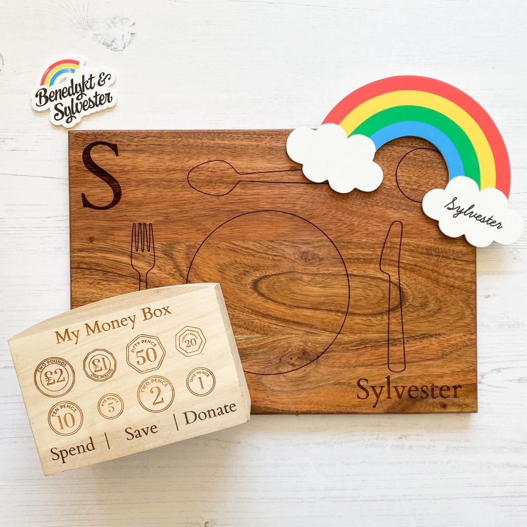Benedykt and Sylvester Starter Gift Set (Personalised Montessori Placemat, Children's Money Box, and Acrylic Decorative Rainbow)