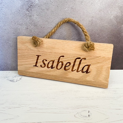 Personalised Solid Oak Rope Plaque