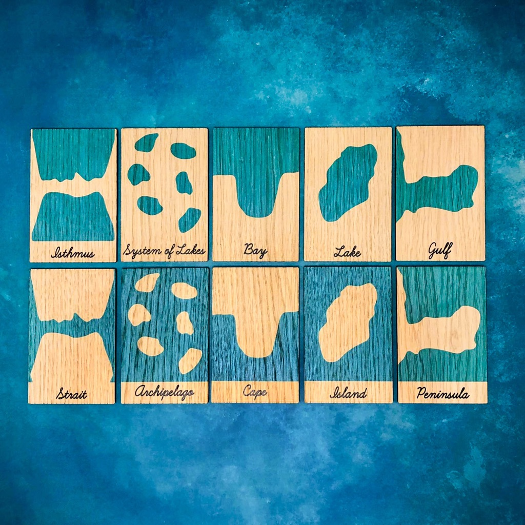 Montessori Inspired Wooden Learning Tiles - Land and Water Forms