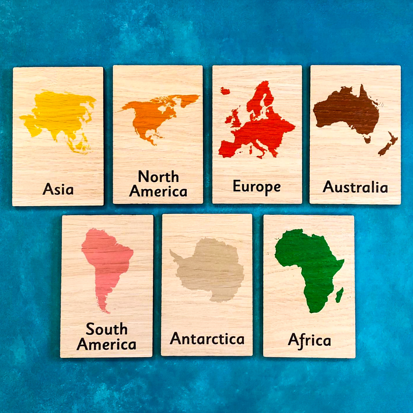 Montessori Inspired Wooden Learning Tiles - Continents of the World