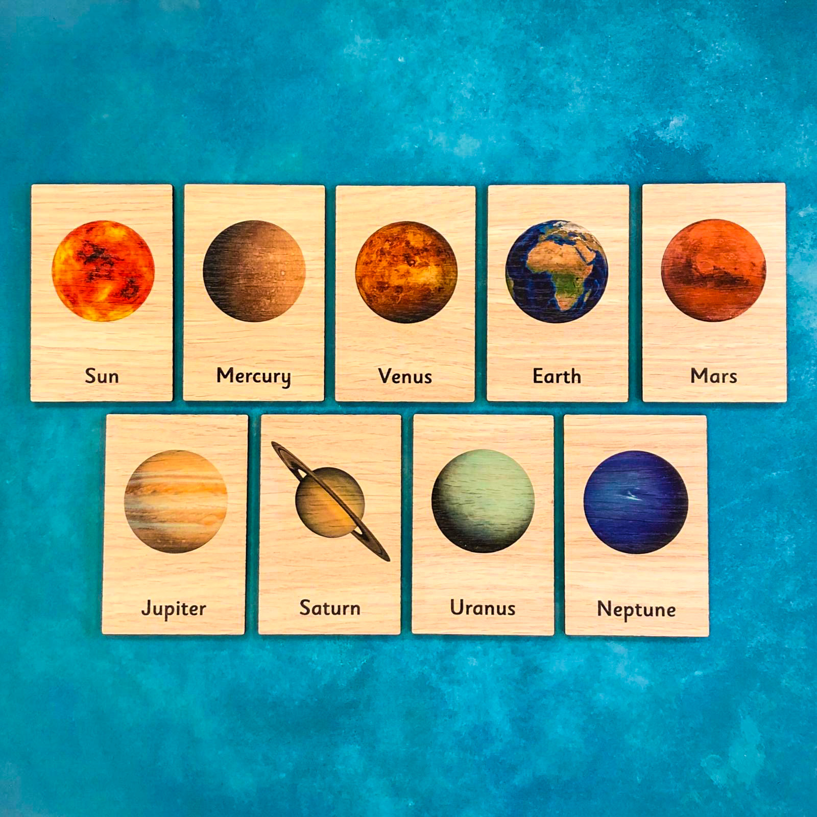 Montessori Inspired Wooden Learning Tiles - Planets of the Solar System
