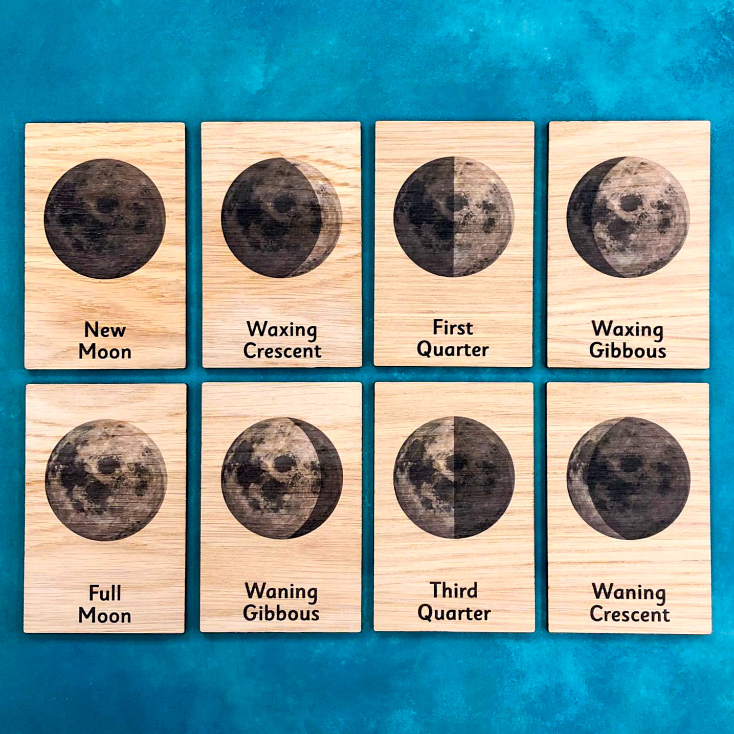 Montessori Inspired Wooden Learning Tiles - Phases of the Moon