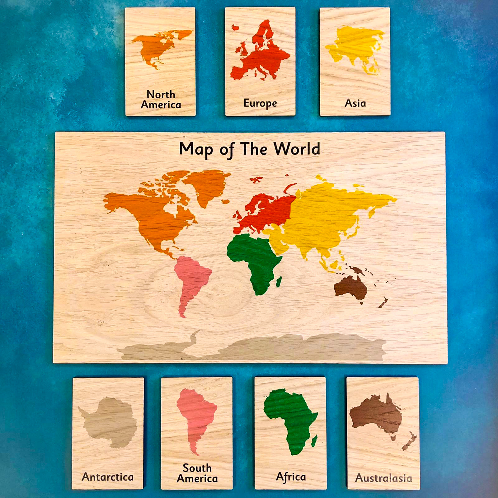 Montessori Inspired Wooden Display Board & Learning Tiles Set - Map of the World and Continent Tiles