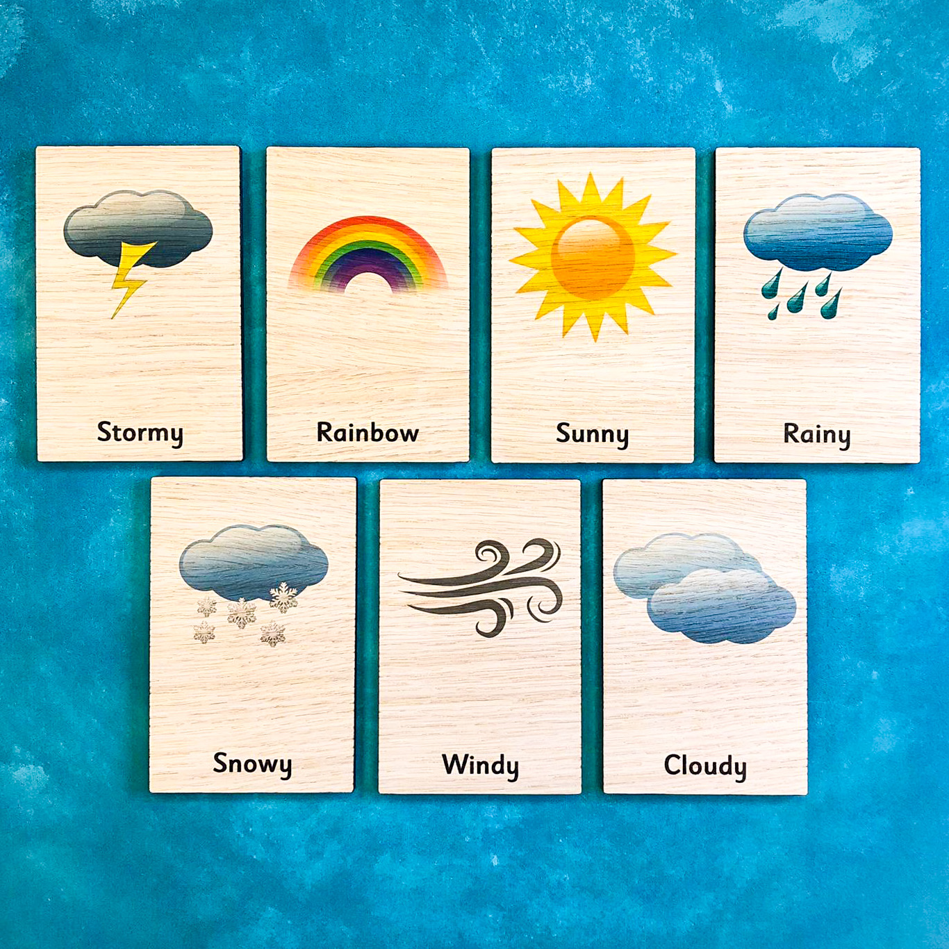Montessori Inspired Wooden Learning Tiles - Weather