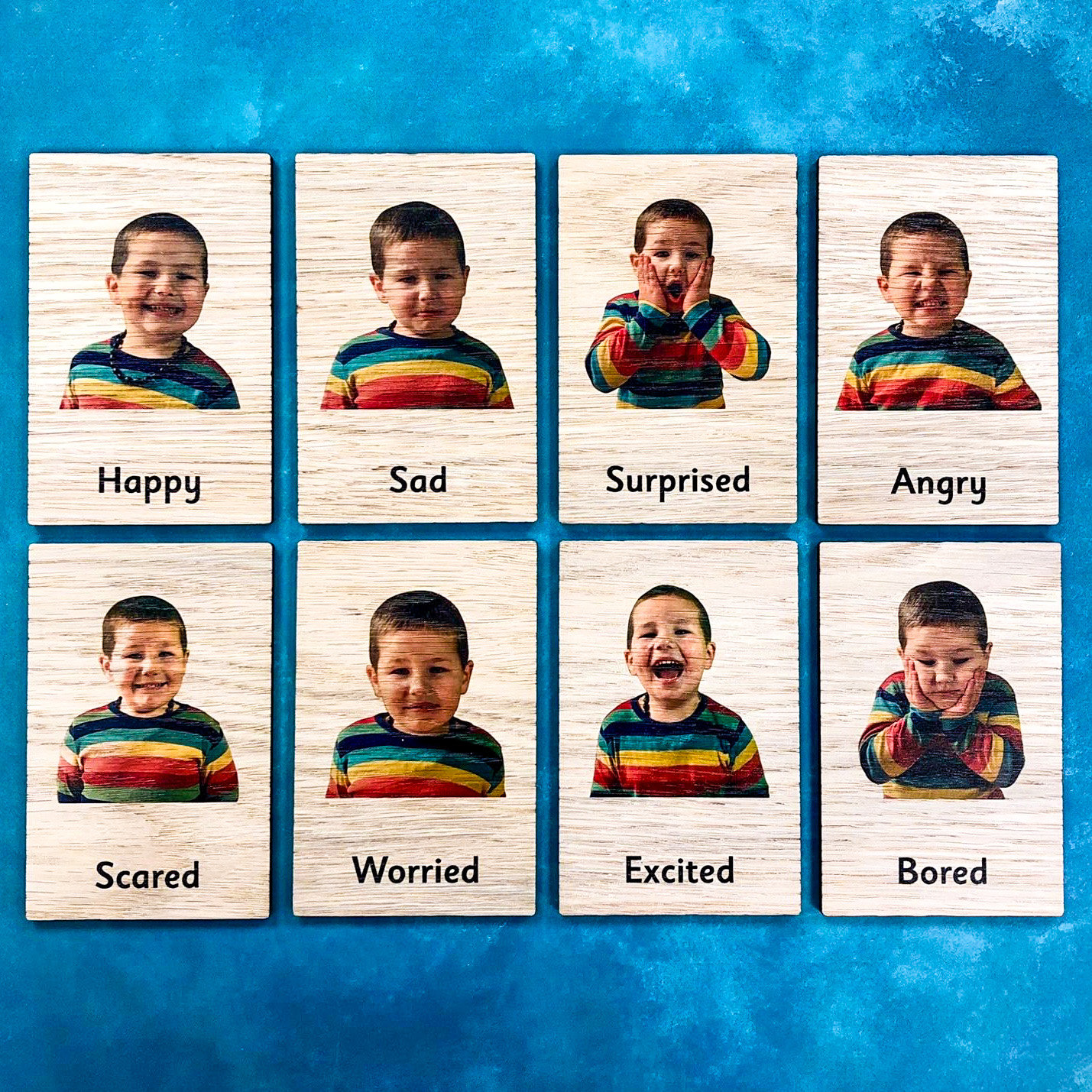 Montessori Inspired Wooden Learning Tiles - Emotions
