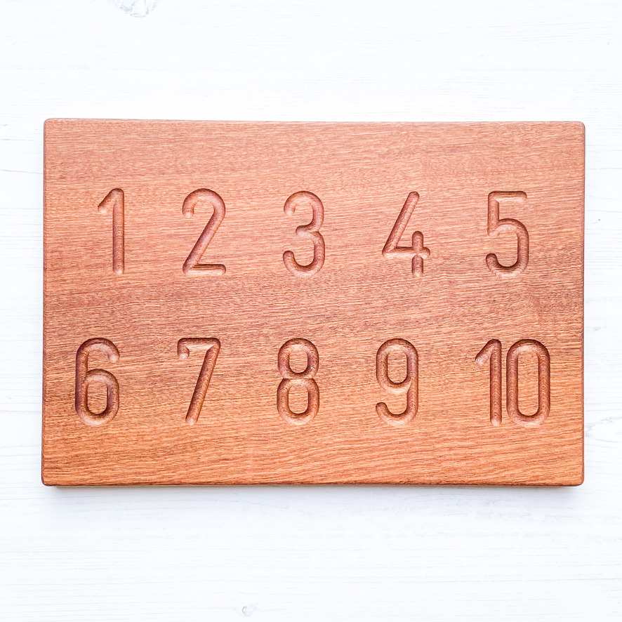 Montessori Number Sensory Tracing Board - Cursive or Print - NEW African Sapele Wood