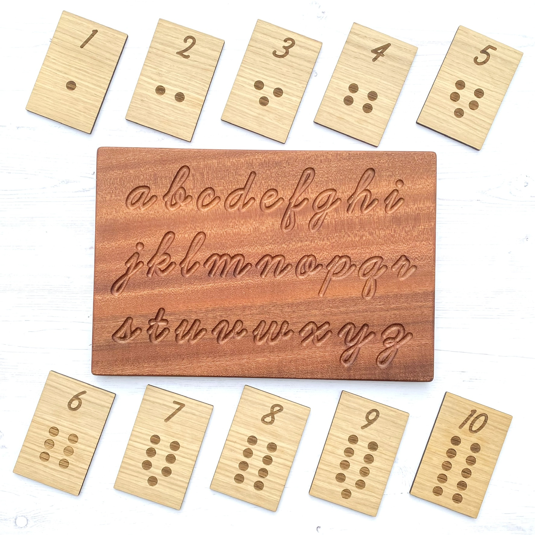 Montessori Inspired Academic Gift Set (Alphabet Tracing Board and Number Cards)