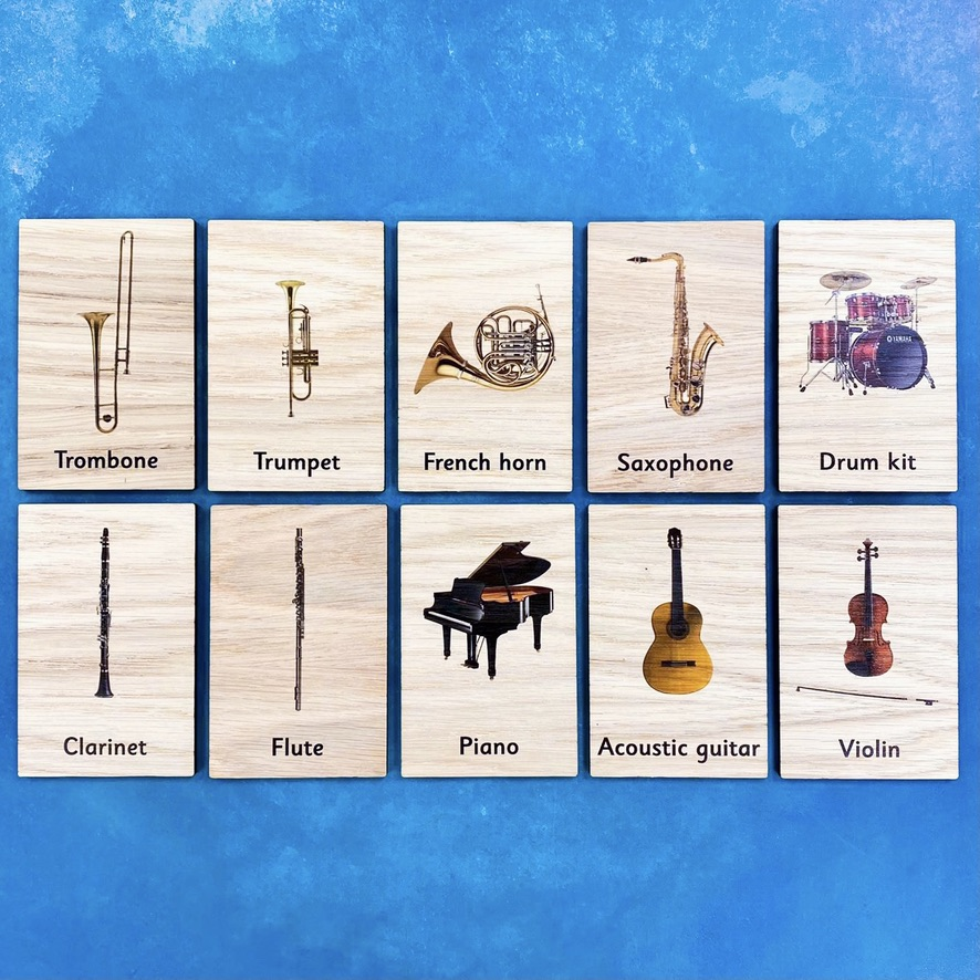 Montessori Inspired Wooden Learning Tiles - Musical Instruments