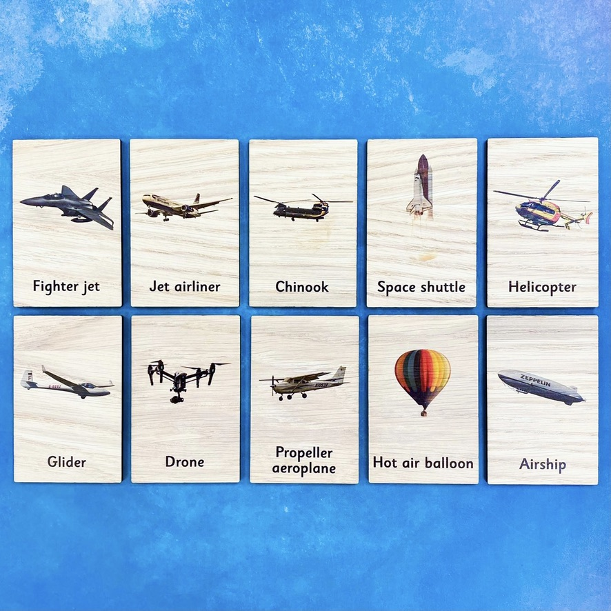 Montessori Inspired Wooden Learning Tiles - Flying Vehicles