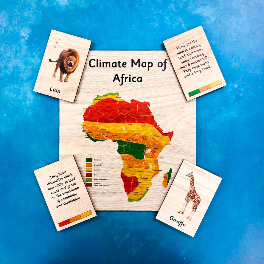 Montessori Inspired Wooden Learning Tiles - African Animals & their Habitat