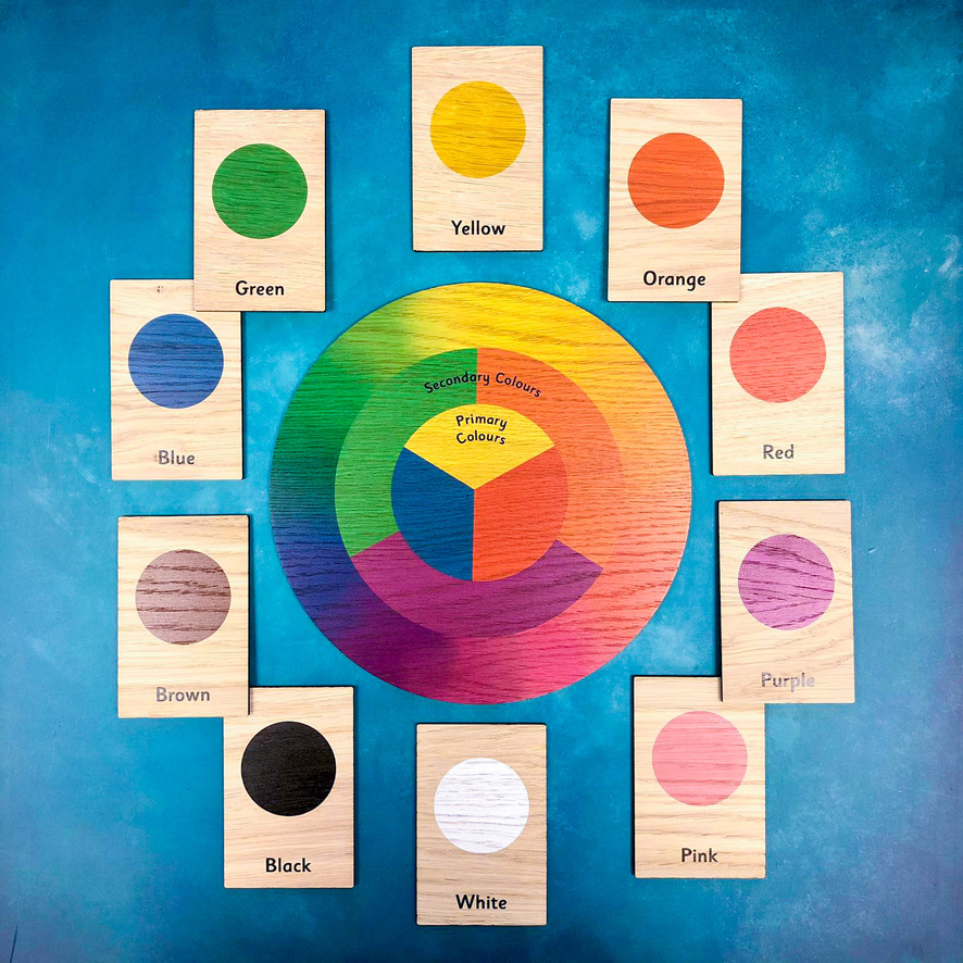 Montessori Inspired Wooden Learning Tiles - Colours & the Colour Spectrum