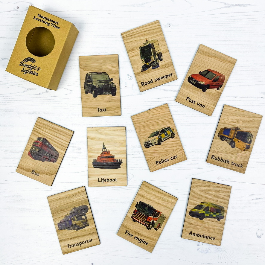 Montessori Inspired Wooden Learning Tiles - Specialist Vehicles