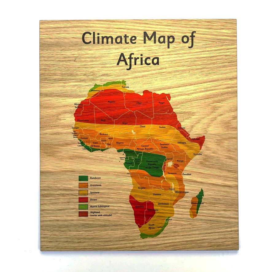 Montessori Inspired Wooden Learning Tiles - African Climate Map