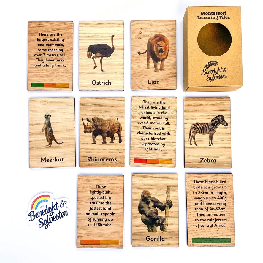 Montessori Inspired Wooden Learning Tiles - African Animals