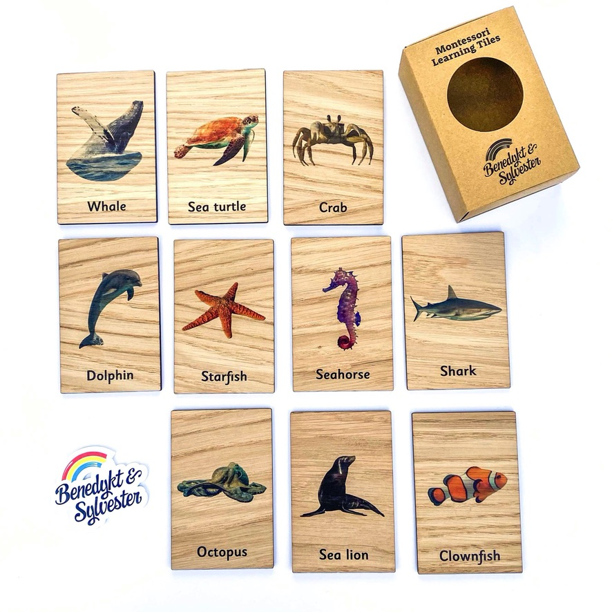 Montessori Inspired Wooden Learning Tiles - Marine Animals