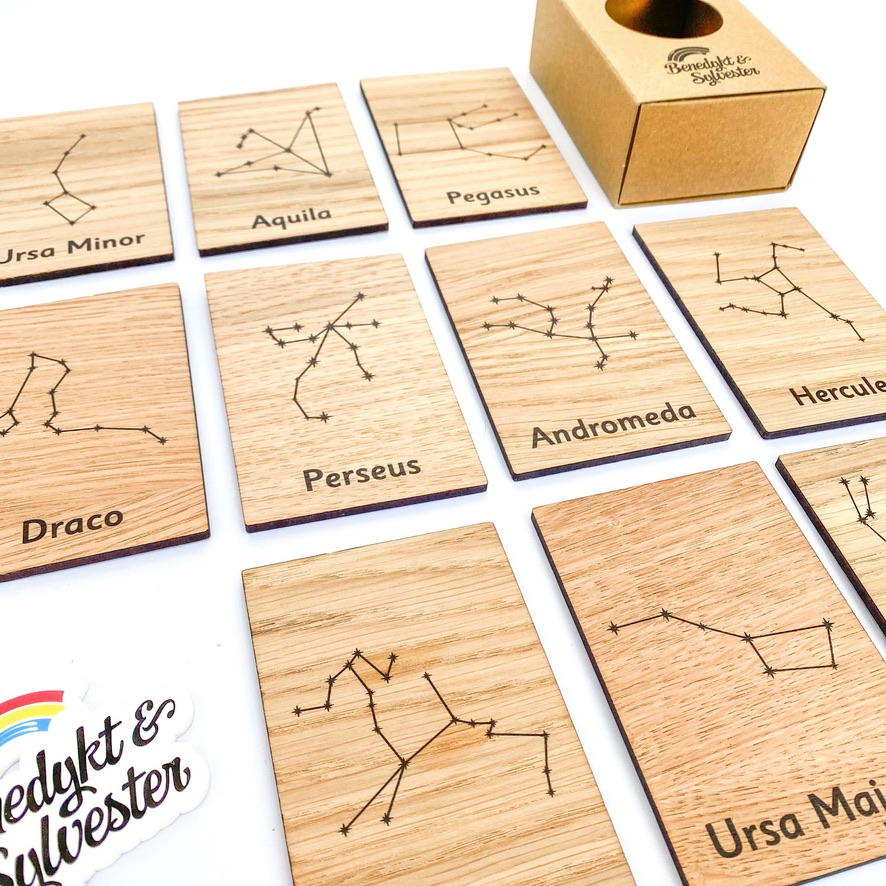 Montessori Inspired Wooden Learning Tiles - Constellations in the Night Sky