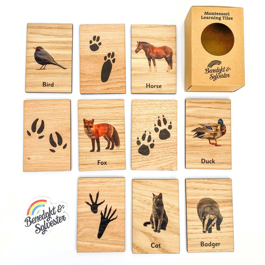 Montessori Inspired Wooden Learning Tiles - Footprints
