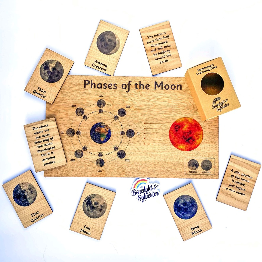 Montessori Inspired Wooden Display Board & Learning Tiles Set - Phases of the Moon