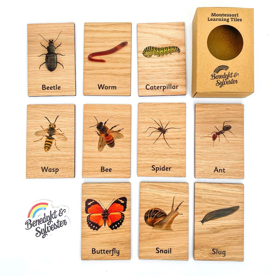 Montessori Inspired Wooden Learning Tiles - Minibeasts