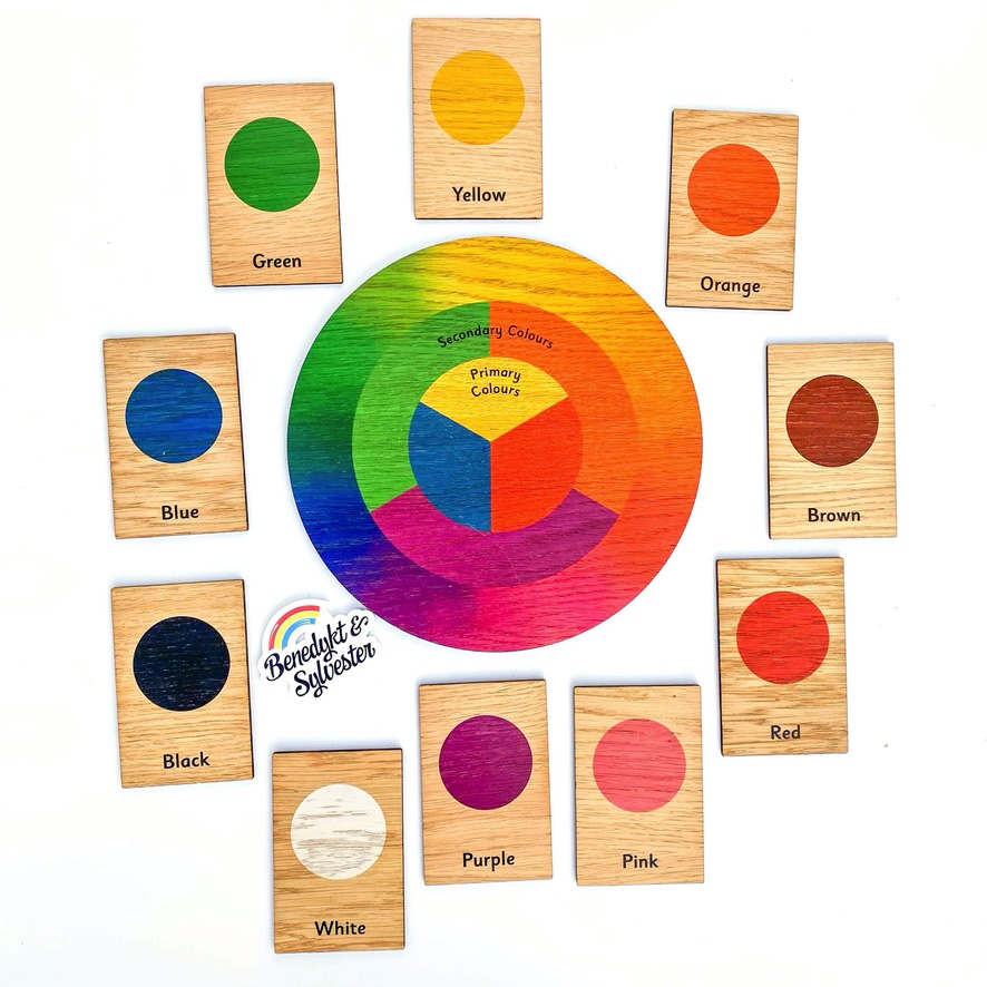 Montessori Inspired Wooden Learning Tiles - Colours